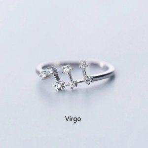 *925 Sterling Silver Zodiac Resizable Ring-Virgo